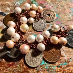 Around the World Coin Bracelet with Pearls
