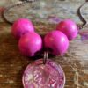 Bead and Ball Necklace Fuchsia